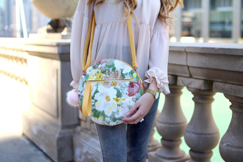 elisabetta pistoni Round Flower Bag Diana&co Chicago detail